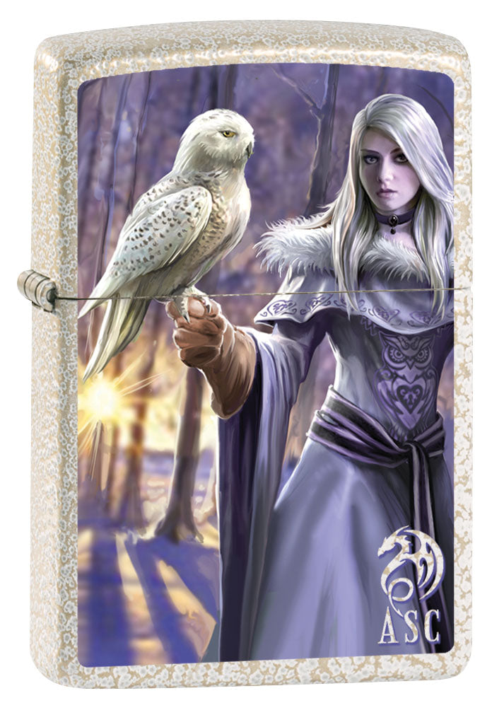 Zippo Lighter: Anne Stokes Woman with Owl - Mercury Glass 80894
