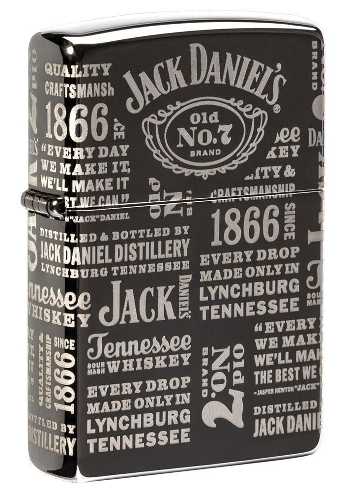 Zippo Lighter: Jack Daniel's Labels, Engraved 360 - Black Ice 80913