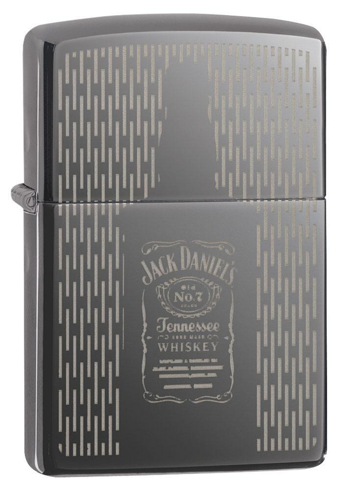 Zippo Lighter: Jack Daniel's Engraved Bottle Design - Black Ice 80914