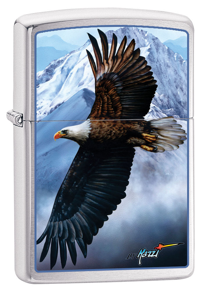 Zippo Lighter: Bald Eagle and Mountains by Mazzi - Brushed Chrome 80924