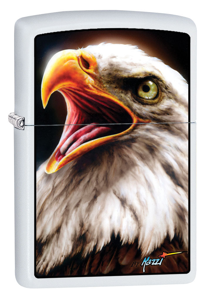Zippo Lighter: Bald Eagle by Mazzi - White Matte 80925
