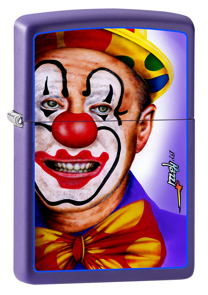 Zippo Lighter: Clown Face by Mazzi - Purple Matte 80927