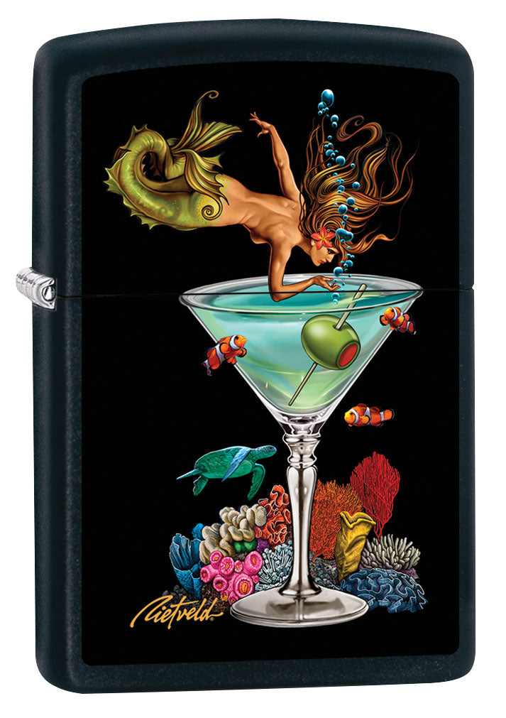 Zippo Lighter: Mermaid and Martini by Rick Rietveld - Black Matte 80936