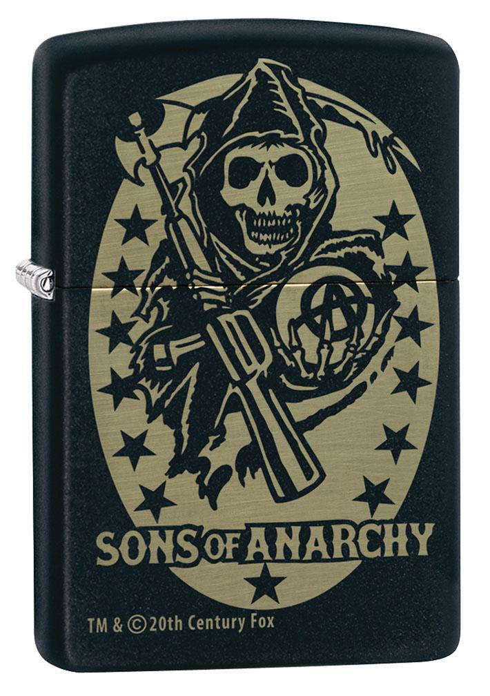 Zippo Lighter: Sons of Anarchy Engraved Logo - Black Matte 80942