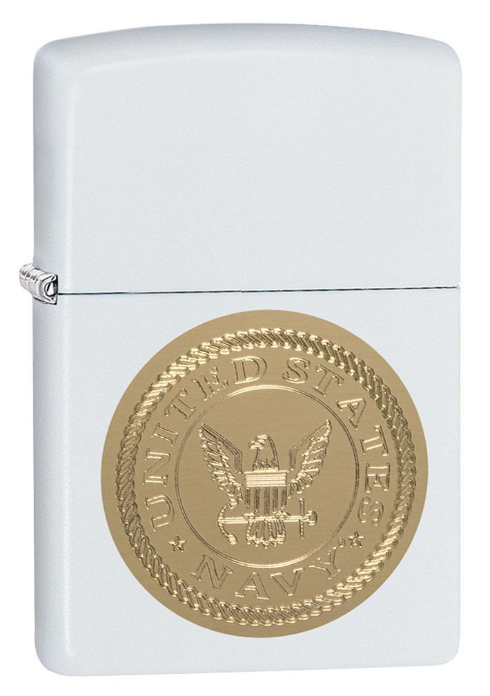 Zippo Lighter: United States Navy Shield, Engraved - White Matte 80947