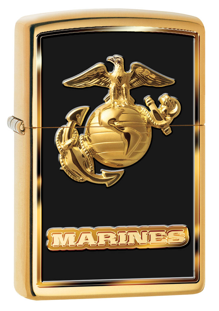 Zippo Lighter: USMC Marines Logo - High Polish Brass 80950