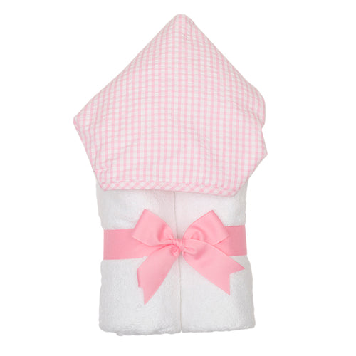 3 Marthas Pink Gingham Hooded Towel