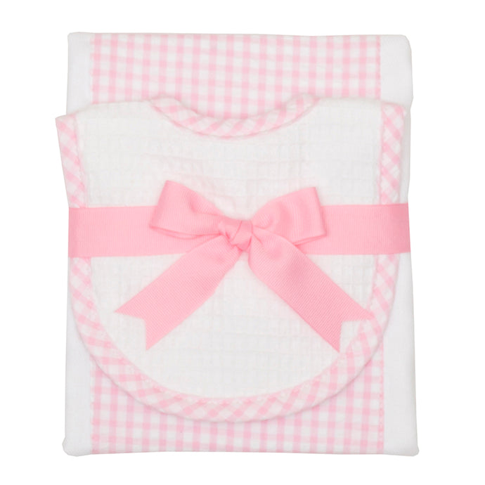 3 Marthas Pink Gingham Bib & Burp Cloth Set (Monogrammed)