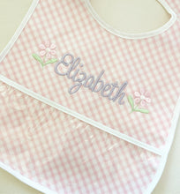 Load image into Gallery viewer, 3 Marthas Pink Check Laminate Bib (Monogrammed)