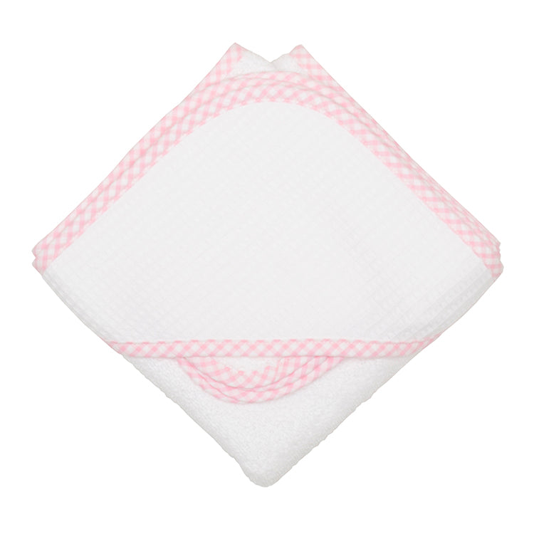 3 Marthas Pink Check Pique Hooded Towel & Washcloth Set