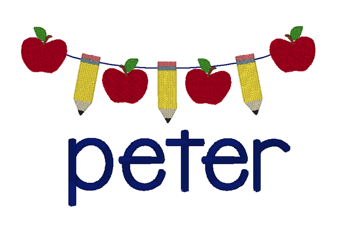 Pencil Banner with Apples