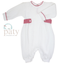 Load image into Gallery viewer, Boy's Paty Romper with Red Side Gingham Tabs