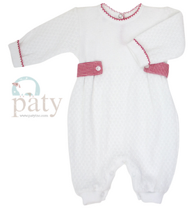 Boy's Paty Romper with Red Side Gingham Tabs
