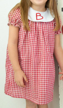 Red Gingham Short Sleeve Bishop Dress