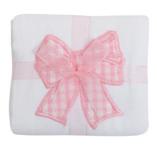 3 Marthas Pink Appliqué Bow Burp Cloth