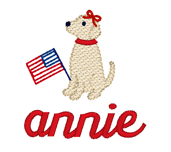 Girl pup and flag