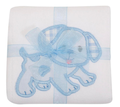 3 Marthas Blue Puppy Appliqué Burp Cloth
