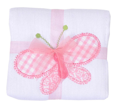 3 Marthas Butterfly Appliqué Burp Cloth