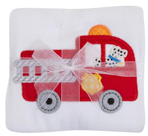 3 Marthas Fire Truck Appliqué Burp Cloth