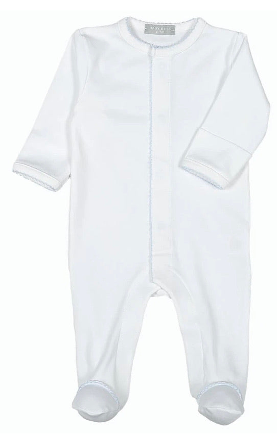 White Pima Cotton Footie with Blue Trim