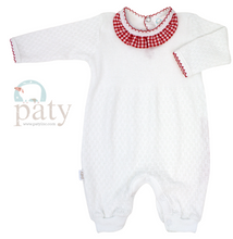 Load image into Gallery viewer, Girl's Paty Romper with Gingham Collar