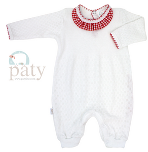 Girl's Paty Romper with Gingham Collar