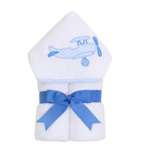 3 Marthas Blue Gingham Airplane Hooded Towel
