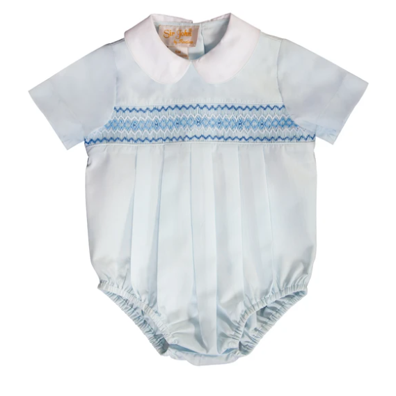 Light Blue English Smocked Bubble
