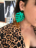 Green Glitter Monstera Dangles
