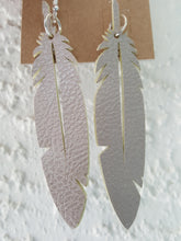 Load image into Gallery viewer, Faux Leather Feather Earrings (3.5 Inch Drop)
