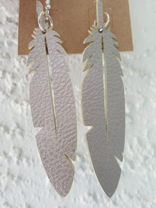 Faux Leather Feather Earrings (3.5 Inch Drop)