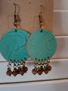 Turquoise Blue Color ~ Flower Embossed Leather Earrings