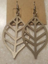Load image into Gallery viewer, Metallic Gold Leaf-Genuine Leather Drop Style Earrings