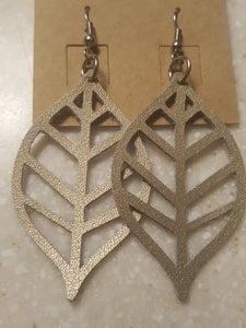 Metallic Gold Leaf-Genuine Leather Drop Style Earrings