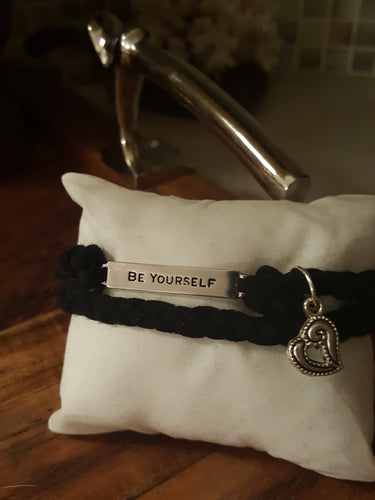 Black Hand Braided Bracelet~ With A