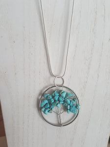 Turquoise Chakra ~Tree of Life Pendant ~ 31~Inch, Sterling Silver Plated Snake Chain