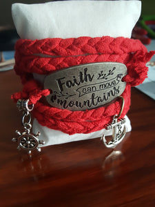 "Red Hand Braided Wrap Bracelet With ""Faith Can Move Mountains"" & Nautical Charms"
