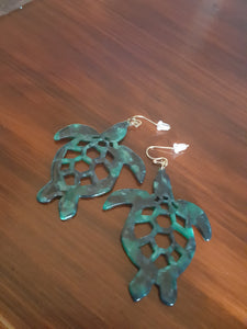 "Green & Black ""Camo"" Sea Turtle Dangle Earrings"