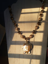 Load image into Gallery viewer, Champagne Opalescent Turtle Pendant With Vintage Beading