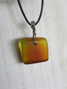 Very Rare Yellow & Orange/Amber Sea Glass Pendant With Silver Hand Wire Wrap