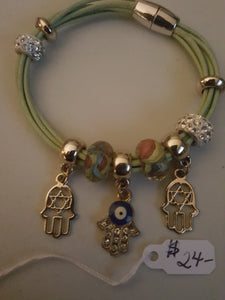 Sage Green Corded Bracelet With Hamsa Charms & Beading