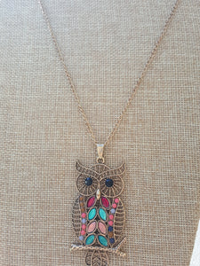 Owl Pendant~14k Gold Plated~Rare Find