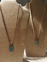 Load image into Gallery viewer, Embossed Teal Blue Flowers~Copper Pendant