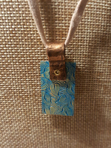 Embossed Teal Blue Flowers~Copper Pendant