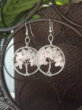 Load image into Gallery viewer, Tree of Life Earrings~ Natural Rose Quartz Chakra (Light Pink)