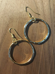 Medium Sized Hoops~14k Gold Plated, Hammered Style