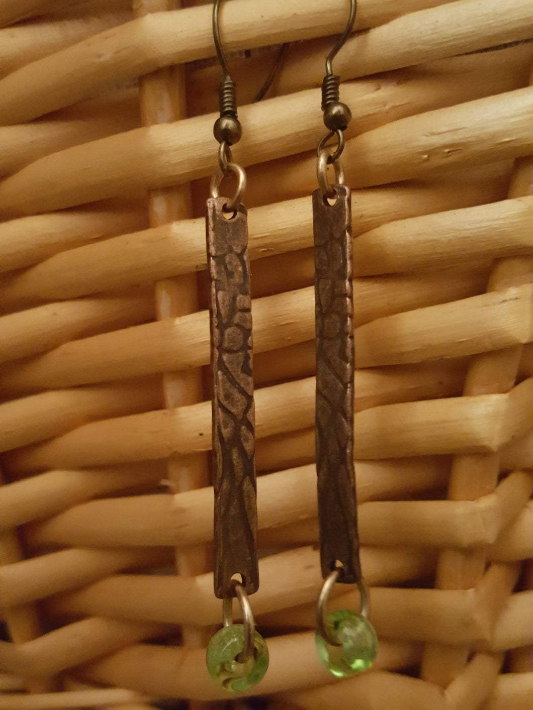 Bar Style~Embossed Copper Earrings
