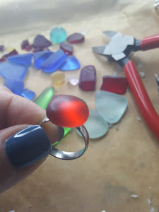 Rounded Sea Glass Rings~Adjustable, Sterling Silver Plated Bands