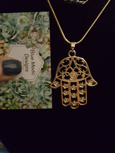 Gold Hamsa~Universal Sign Of Good Luck~Protection From The Evil Eye~14K Gold Plated Chain