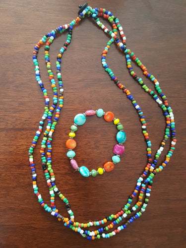 Multi-Color Beaded Necklace & Matching Bracelet